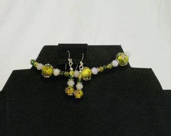 glass bead bracelet and earring set, Lampwork glass bead bracelet and earring set, glass bead jewelry set, costume jewelry set