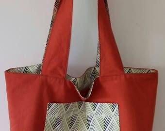 TOTE BAG handmade fabric reversible shopping bag