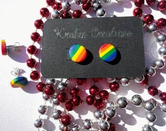 Rainbow pride polymer clay stud earrings