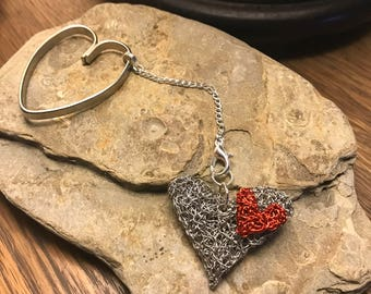 Knitted Wire Heart Keyring/Pendant