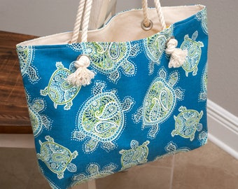 Turtle Tote Bag - Beach Bag - Lake Bag - Weekend Tote Bag - Large tote Bag - Blue Sea Turtles