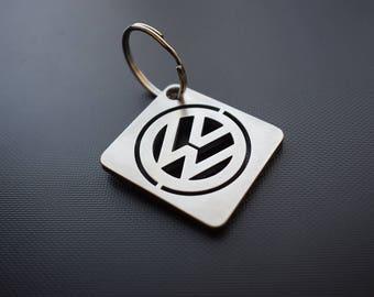 VOLKSWAGEN keychain, stainles steel, key ring, vw, gift, laset cut, silver