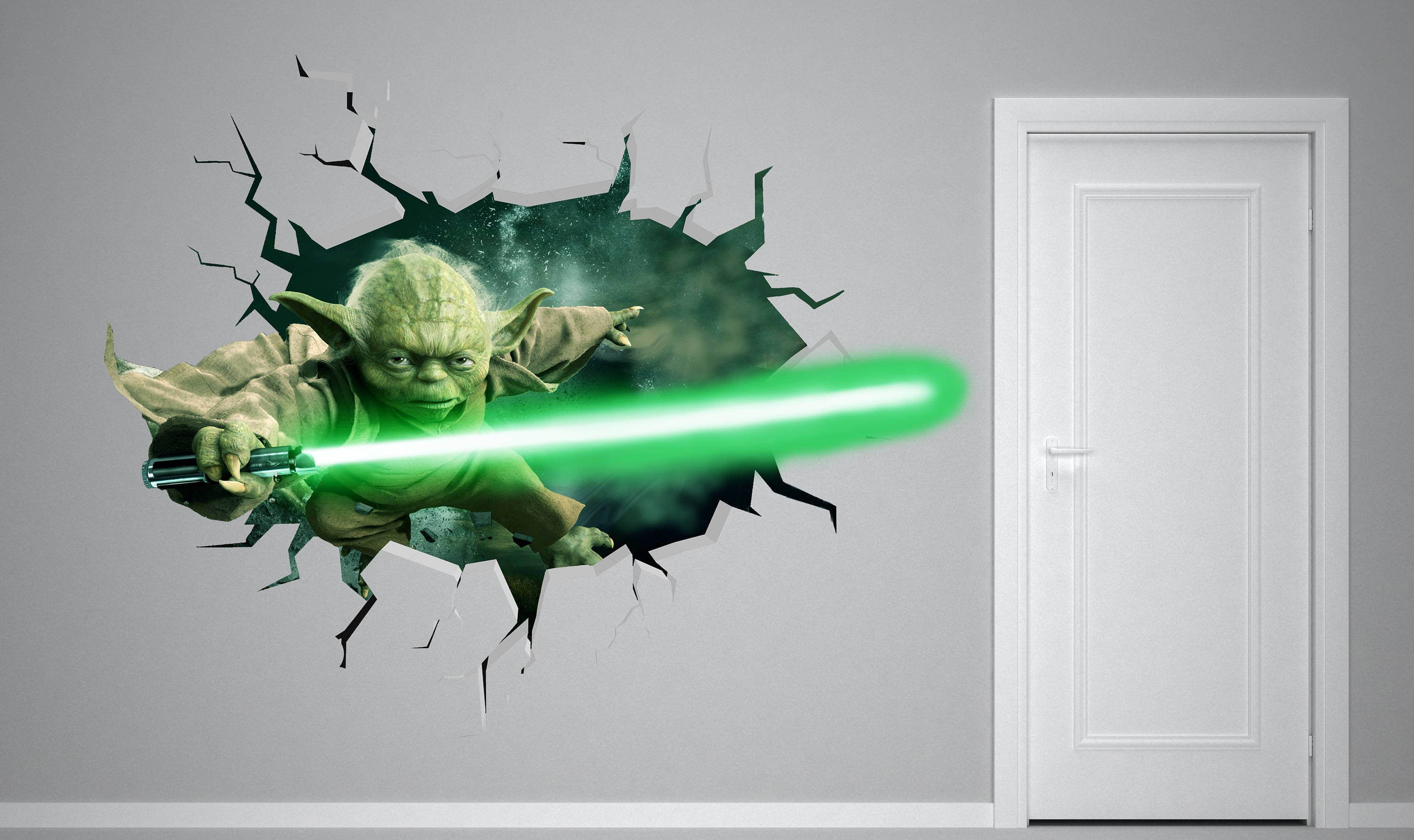 Yoda Star Wars 3D Smashed Wall Decal Kids Sticker Art Decor Vinyl Poster Mural & Yoda Star Wars 3D Smashed Wall Decal Kids Sticker Art Decor Vinyl ...