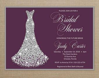 Bridal Shower Invitation Purple, Bridal Shower Invitation Dress, Bridal Shower Invitation printable, Bridal Shower Invitation Digital