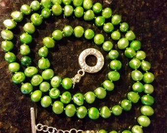 Green Freshwater Pearls 7-8mm