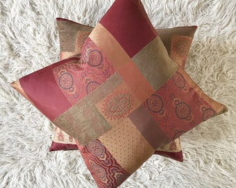 "22"" x 22"" Brown Red Multipatterned Decorative Pillow Cover - Eastern Accents Patchwork Pillow Cover"