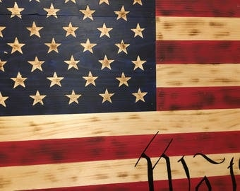 "INDEPENDENCE FLAG!!  ""We The People"" Rustic American Flag, 50 star Old Glory, Hand Carved Stars, Wooden Burnt Stars And Strips, wooden flag,"