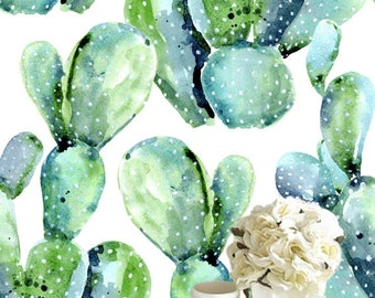 Removable wallpaper/Wallpaper/Peel and Stick wallpaper/Temporary wallpaper /Modern Wallpaper /Watercolor cactus  wallpaper S063