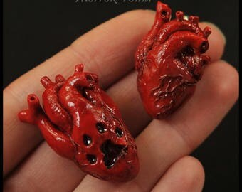 Anatomical  realistic human  heart. Brooch necklace pendant