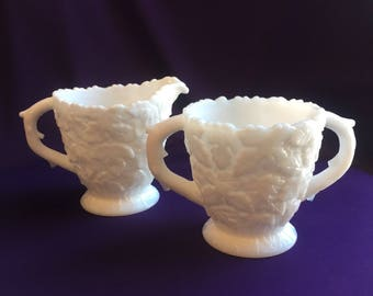Vintage Westmoreland milk glass sugar and creamer set in the Bramble pattern