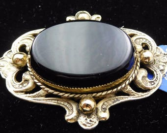 NEW OLD STOCK Vintage Black Glass in an Ornate Goldtone Frame by Whiting and Davis