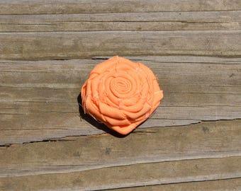 Peach Fabric Rose Hair Clip