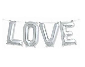 LOVE Silver BALLOONS, LOVE Balloon