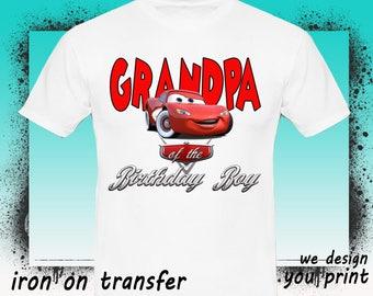 Cars Iron On Transfer, Grandpa, Cars Birthday Shirt, Cars Transfer, Cars Shirt, Instant Download, Digital File