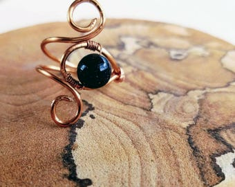 Dark Blue Wire Wrapped Glimmer Ring