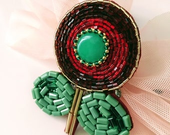 Flower Brooch, bead embroidery brooch, gift for her, FlowerPin, Red brooch, Handmade Brooch, Green jewelry, Beadwork, T-Shirt Brooch
