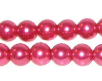 10mm Round Deep Fuchsia Glass Pearl Bead, approx. 22 beads