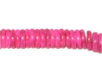 "10mm Fuchsia Heishi Beads - 2.5"" string"