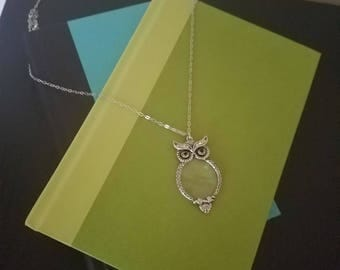 Silver Owl Magnifying Necklace, Silver Necklace, Owl Necklace, Long Necklace, Magnifying Glass Necklace