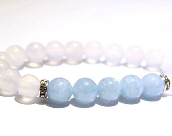 Aquamarine & White Agate   High Quality   Healing Gemstone Bracelet   Beaded Bracelet
