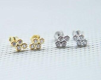 Cz stud earrings - White CZ post earrings - Gold CZ studs - 925 studs - CZ earrings - Everyday jewelry - Minimalist earrings-Dainty studs