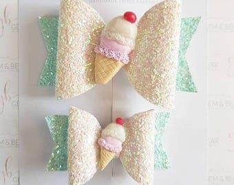 Ice cream hair bow