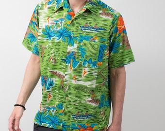 1970's Mens Hawaiian Shirt / Large Size Green Van Cort Button up Casual Short Sleeved Orange Tropical Summer Beach Shirt Made in Korea