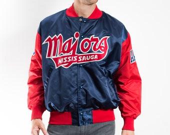 Vintage Varsity Jacket / Mens Mississauga Majors Bomber Jacket / Satin Red and Blue Sports Baseball Jacket