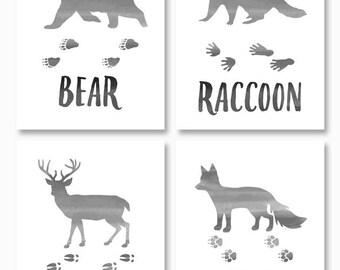 WOODLAND NURSERY ART, Rustic Nursery, Printable Nursery Art, Set of Four, Bear, Fox, Deer, Raccoon, Instant Download, Digital Files