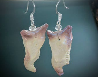 Squirrel jaw bone earrings, polymer clay. 1 bead