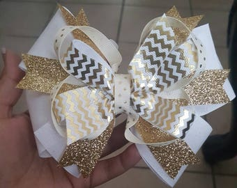 Gold and White hair bow...good hair bows..stacked hair bows..hair bow..hair bows...bows..girls hair bows