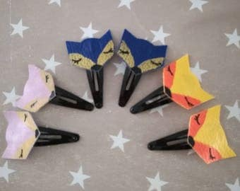 Barrettes Fox orange and yellow or blue and gold or pink iridescent and gold faux leather choice