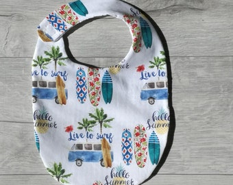 bib baby / child in cotton / honeycomb, patterns van and surf - holidays -palmiers