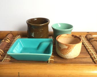 Vintage ceramic mini plant pots
