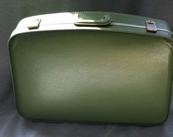 Vintage Hard Sided Suitcase / Vintage Green Suitcase / Vintage Luggage / Wanderlust