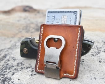 Hand made leather wallet, bottle opener,leather,made in USA, wallet