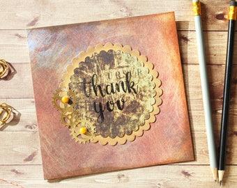 Steampunk Style Handmade Thank You Card - handmade, paper crafts, thanks, ice cream card, cute, handmade with love, summer