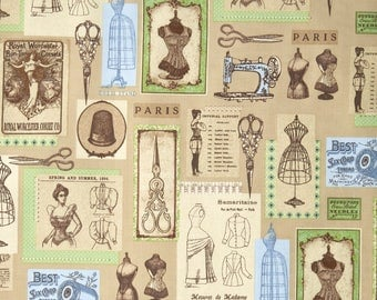 Robert Kaufman Heirloom Diary Victorian Sewing Notions Fabric Sold by the Yard - Taupe Background