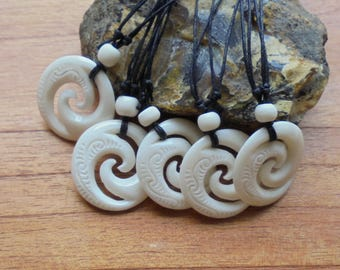 Maori Koru Spiral Bone Necklace, Bone Pendant, Bali Bone Carving Jewelry  M17