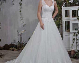 Wedding dress wedding dress bridal gown KELLY + princess dress lace ivory beadwork
