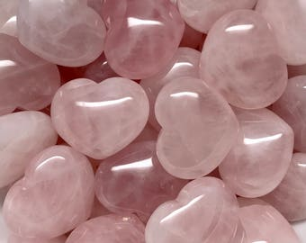 Rose Quartz Heart Crystal 32mm | Love Crystal | Fertility Crystal | Worry Stone | Palm Stone #H7