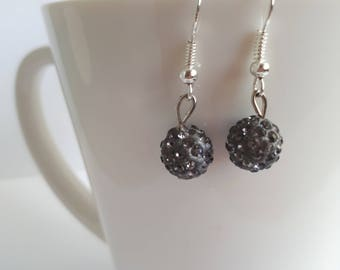 Dark Silver Pave Crystal Drop Earrings