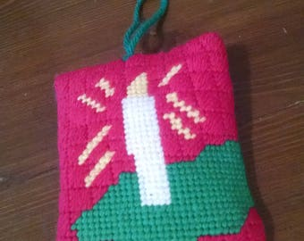 Stitched Candle Pillow Ornament