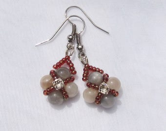 Moonstone natural stone hand-beaded earrings, with Swarovski crystal centrepiece and silver earwires