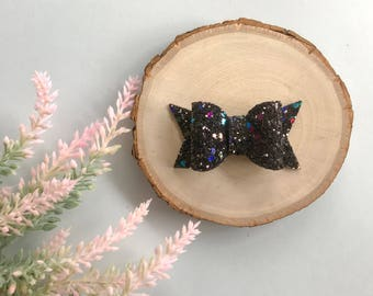 Black Glitter Bow, Iridescent Glitter, Chunky Bow