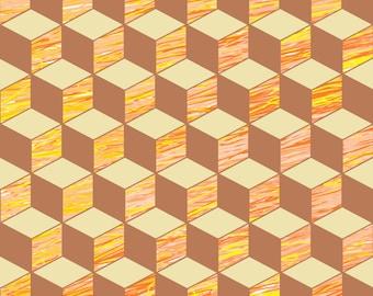 Design original wallpaper, 61cm wide 2.5 m long colorful cubes.