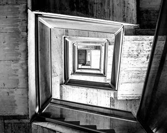 Black and white photo Stairway to where you want to go.