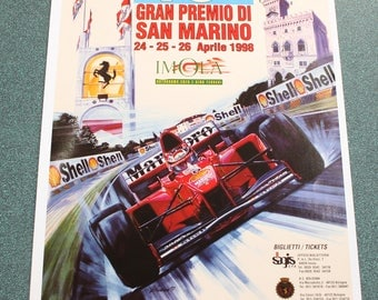 18 th San Marino grand prix poster. Makes a ferrari in the foreground. Poster printed on matte 180g.