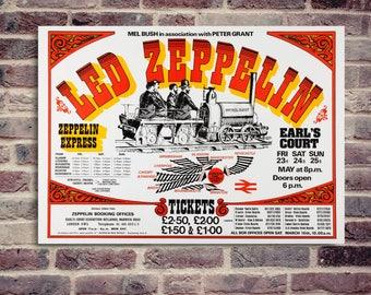 Led Zeppelin. physical rocket 1975. UK tour 1975. Affiche de concert. Led Zeppelin poster.