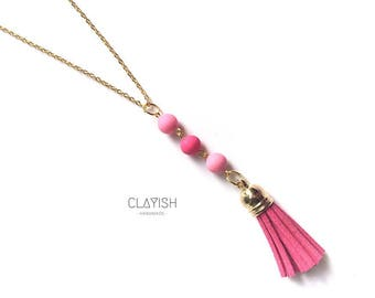 Polymer Clay Beads with Tassel Necklace